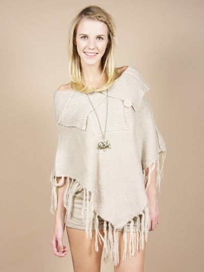 Fringed-Button-Sweater-Poncho