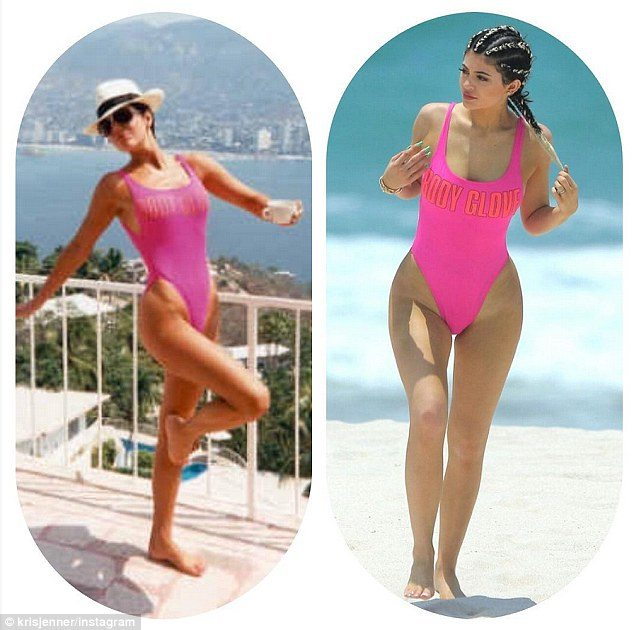 kylie jenner kris jenner pink swimsuit