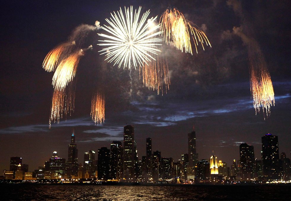Fireworks over Lake Michigan