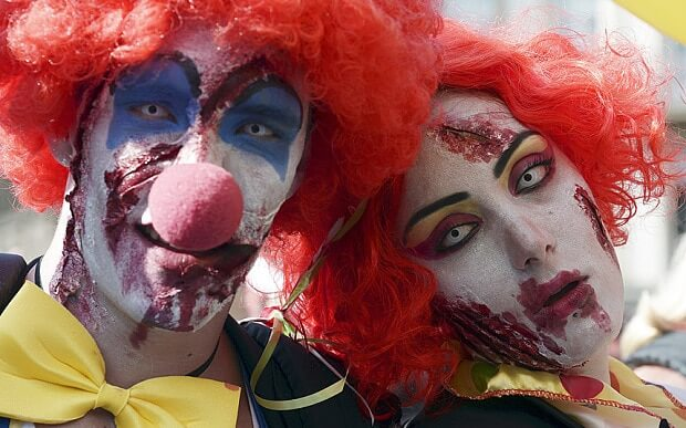 zombie clowns scare residents