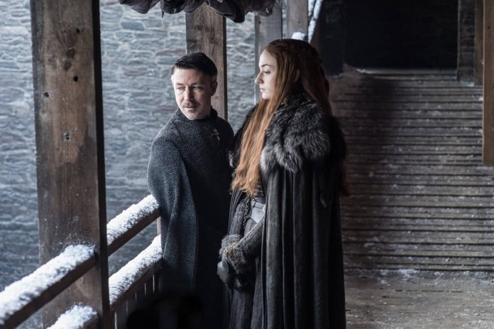 Littlefinger and Sansa Stark (Sophie Turner)