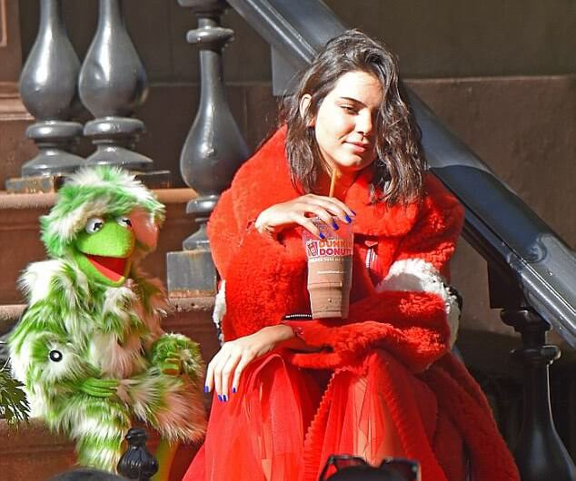 Kermit the Frog with Kendall Jenner for LOVE Magazine covershoot
