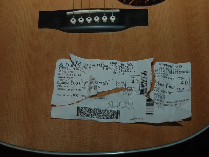 A torn plane ticket found in the room of the Soundgarden singer