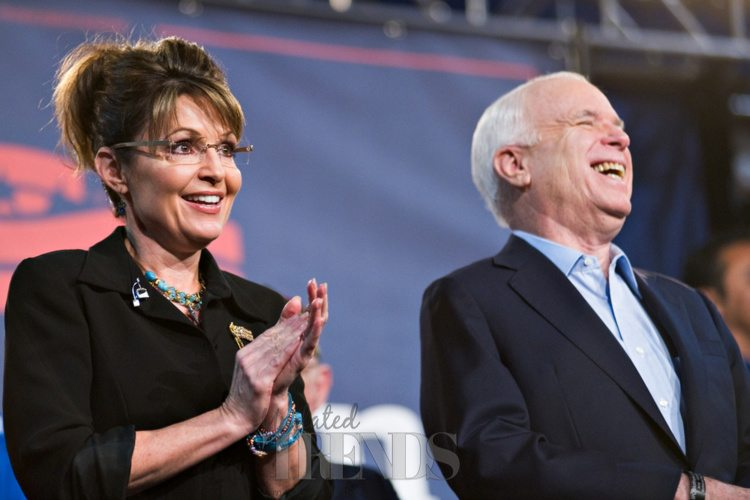 John McCain famously ran as the Republican candidate for President in 2008 with Sarah Palin as his Vice-Presidential candidate.