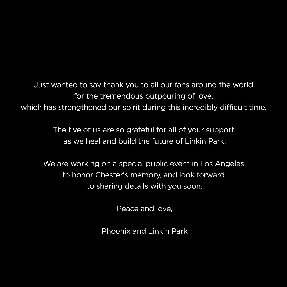 Linkin Park official statement