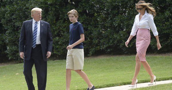 The photo in question that caused controversy with a media outlet mocking Barron Trump for being casually clothed at the White House