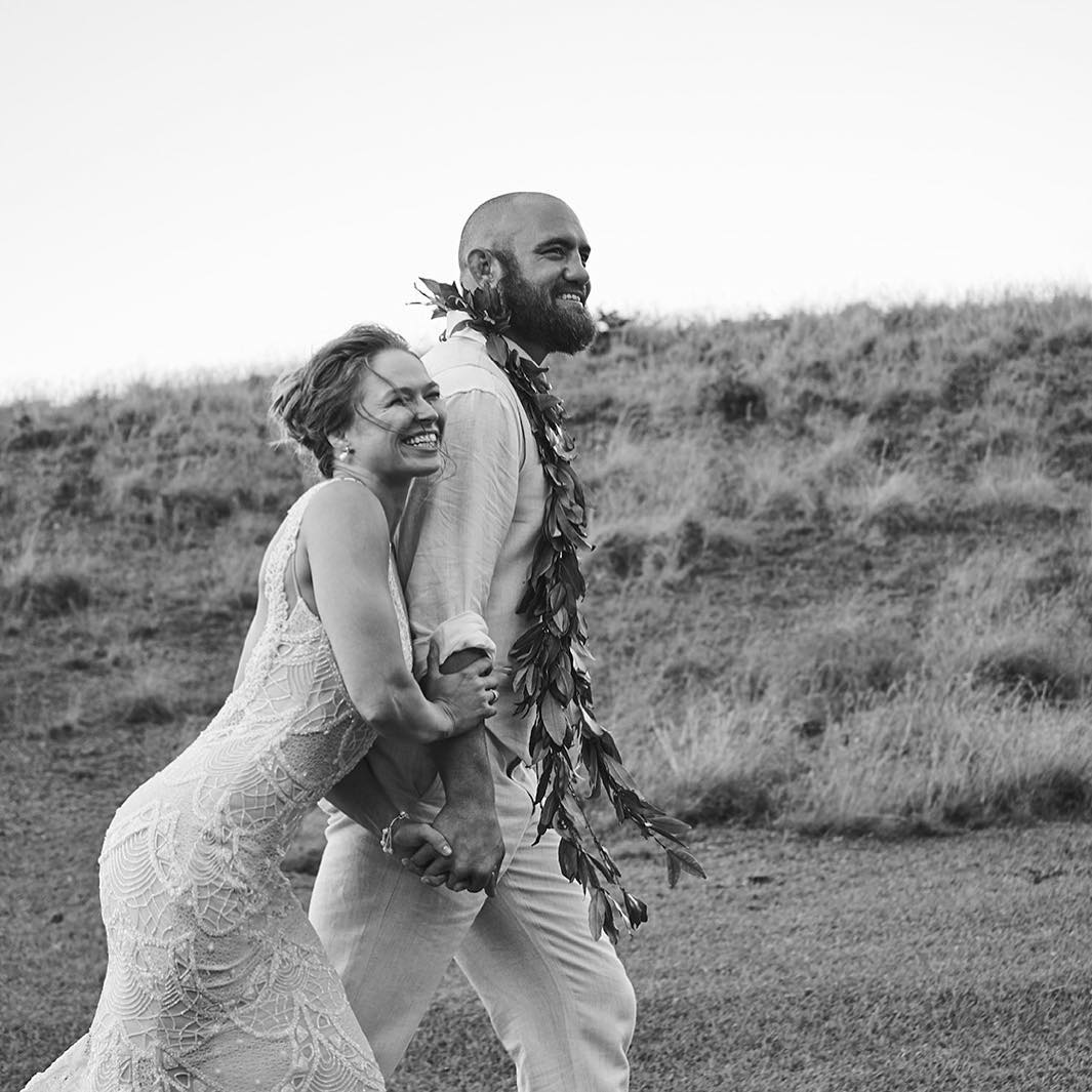 Ronda Rousey and Travis Browne on their wedding day in Hawaii