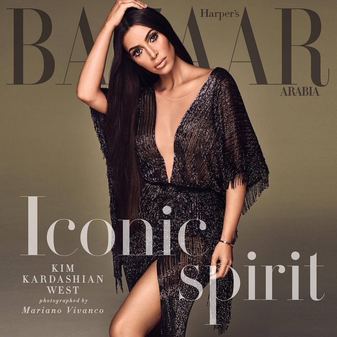 Kim Kardashian on the cover of Harper's Bazaar Arabia